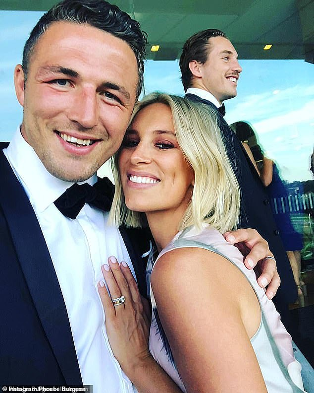 Over: It comes after Phoebe and NRL star ex-husband Sam Burgess, 31, (pictured) finalised their divorce in April. Phoebe walked away with 70 per cent of their marital wealth, a source told The Daily Telegraph at the time